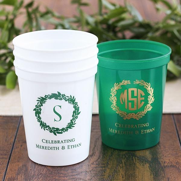 Personalized Initial Wreath Stadium Cups