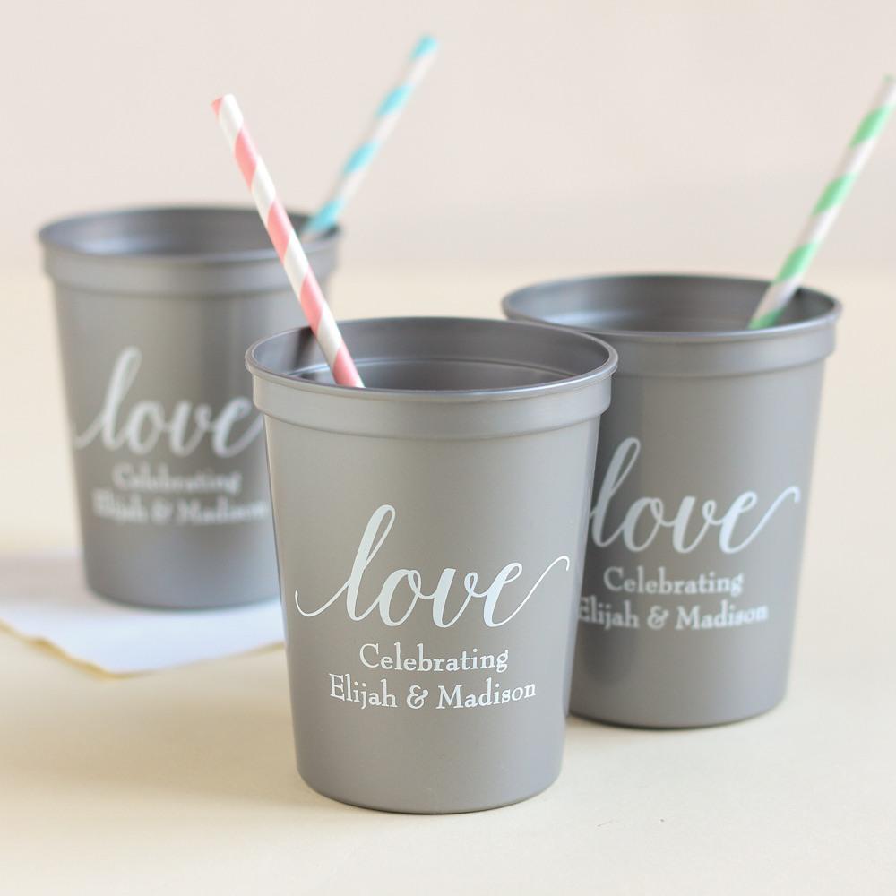 Personalized Love Script Bridal Stadium Cups