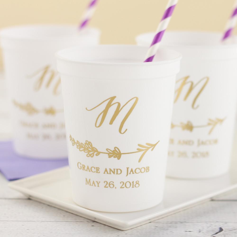 Personalized Lavender Stadium Cups