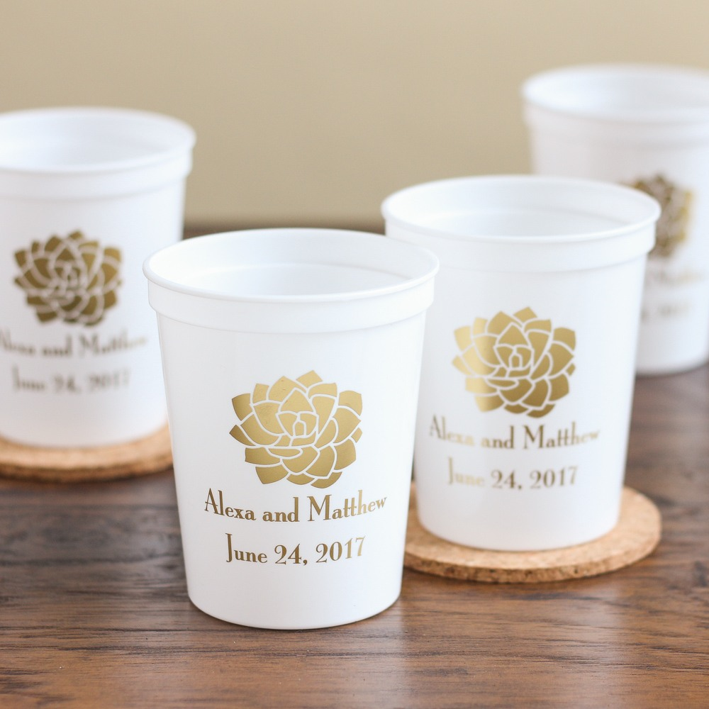 Personalized Succulent Stadium Cups