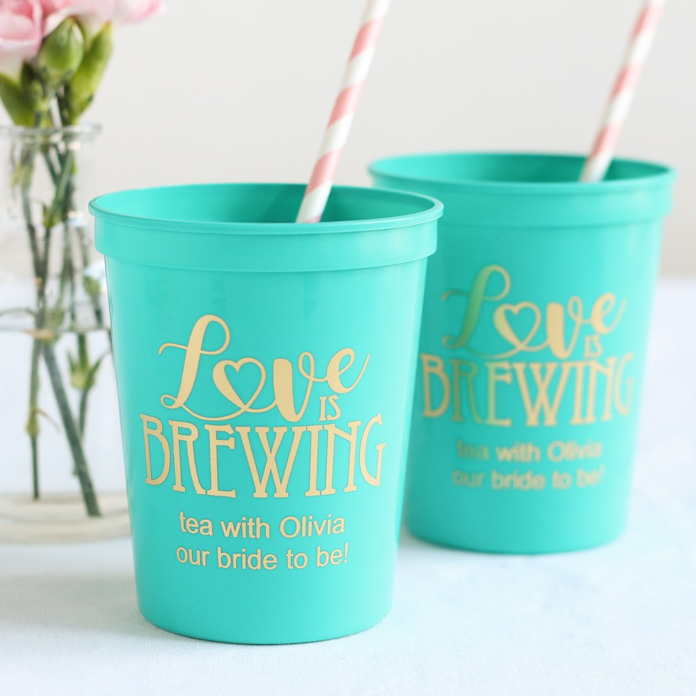 Personalized Love is Brewing Stadium Cups