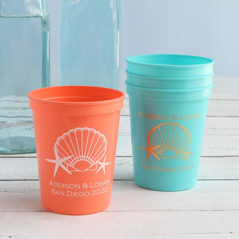 Personalized Seashell Stadium Cups