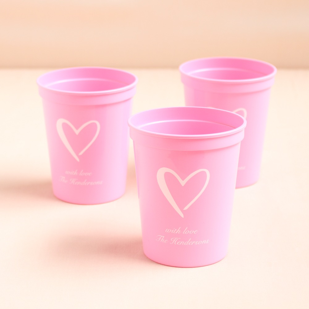 Personalized Heart Bridal Stadium Cups