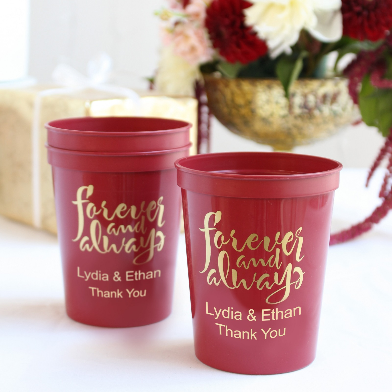 Personalized Forever Always Stadium Cups