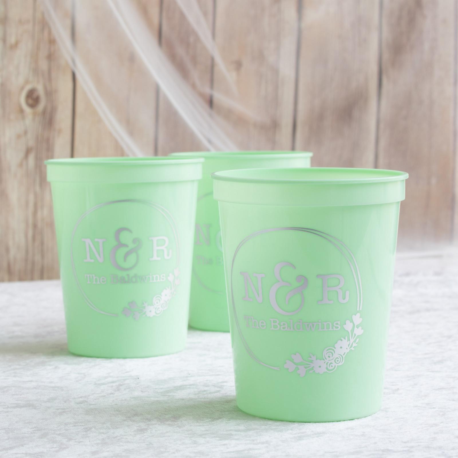 Personalized Botanical Monogram Stadium Cups