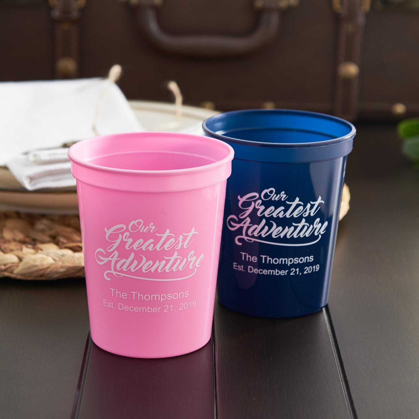 Personalized Bridal Stadium Cups- Greatest Adventure