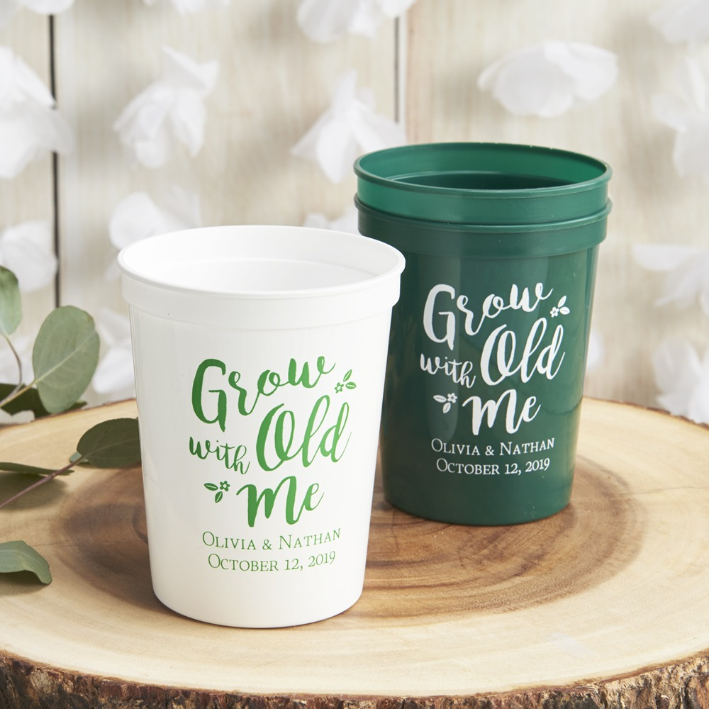 Personalized Bridal Stadium Cups Grow old with me