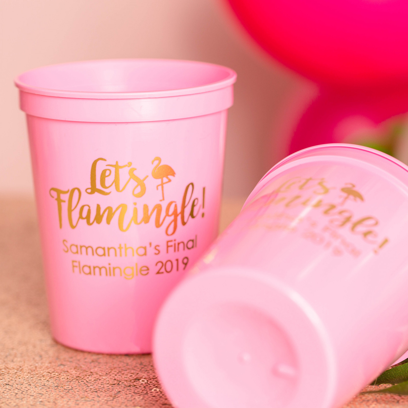 Personalized Let's Flamingle Bridal Stadium Cups