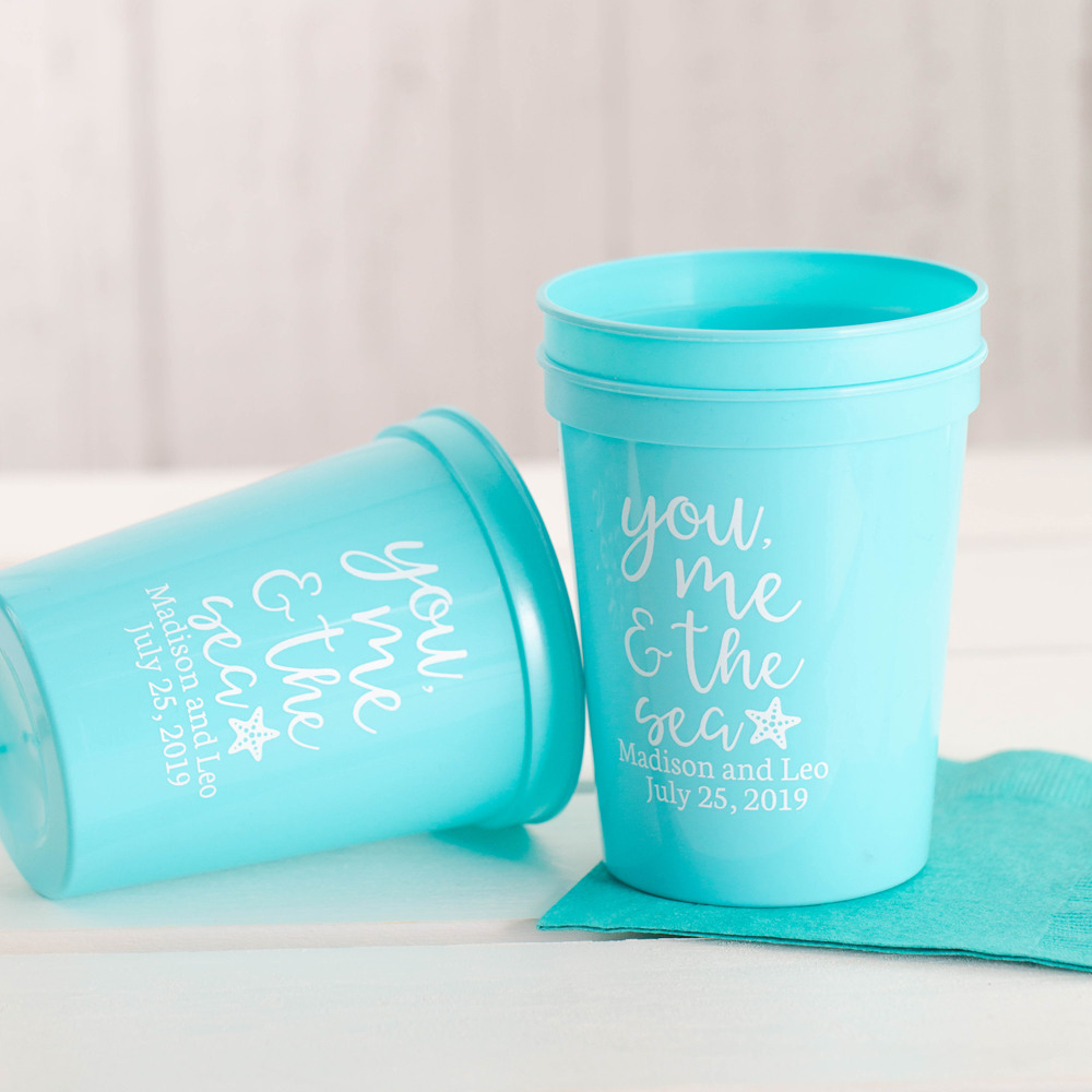 Personalized You Me & the Sea Bridal Stadium Cups