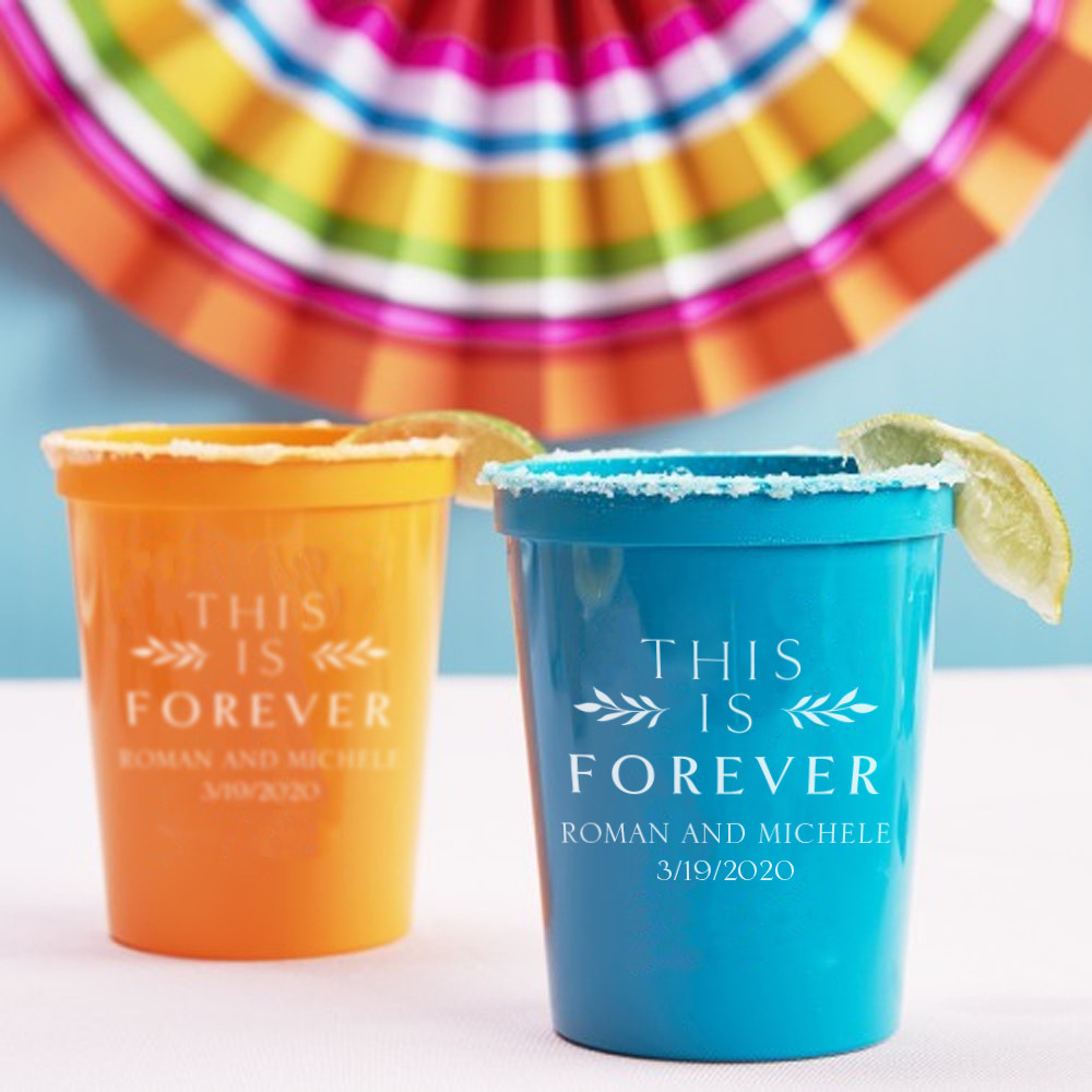 Personalized This is Forever Bridal Stadium Cups