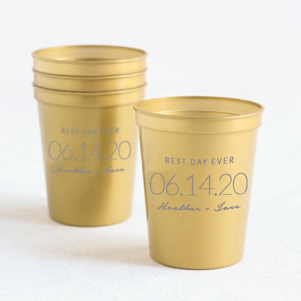 Personalized Wedding Date Bridal Stadium Cups