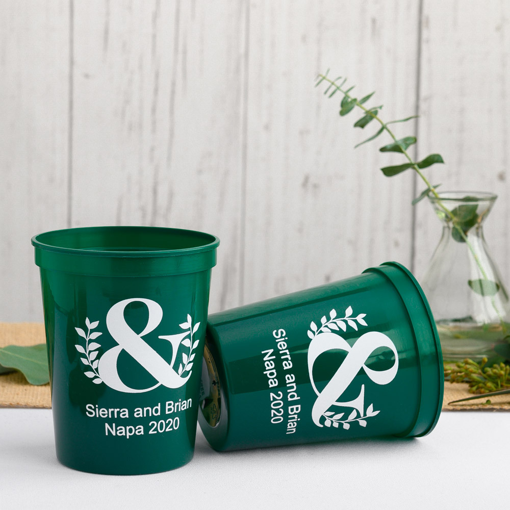 Personalized Eco Ampersand Bridal Stadium Cups