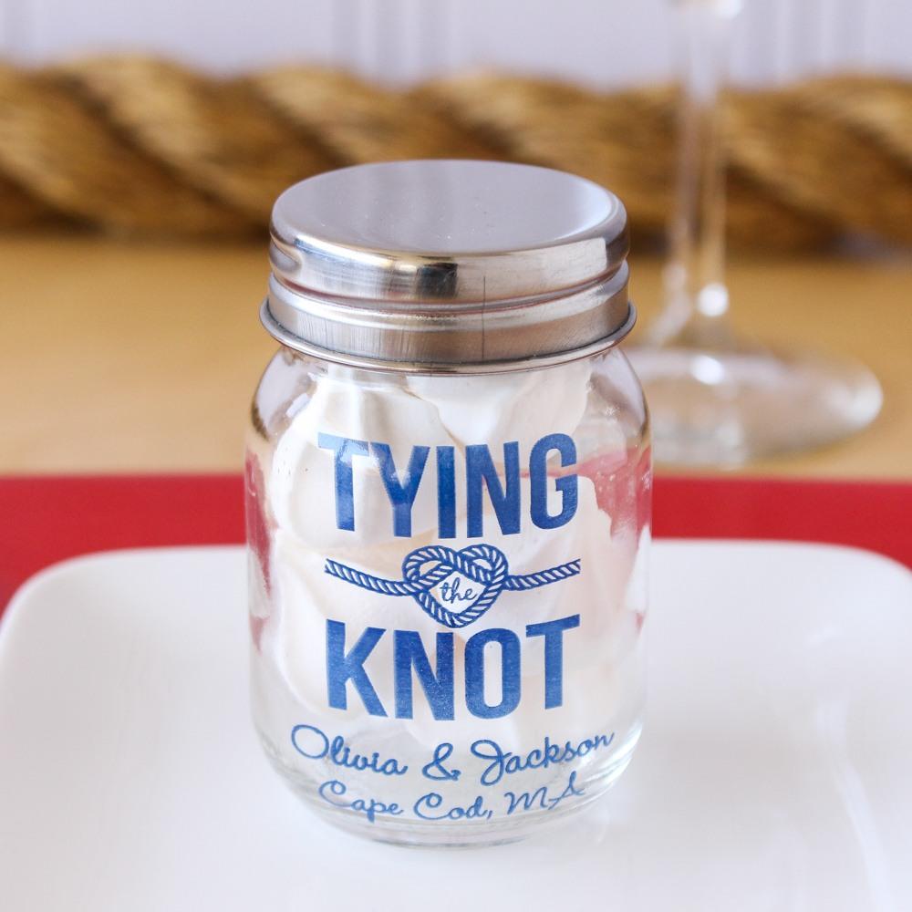 Personalized Tying the Knot Mini Mason Jar