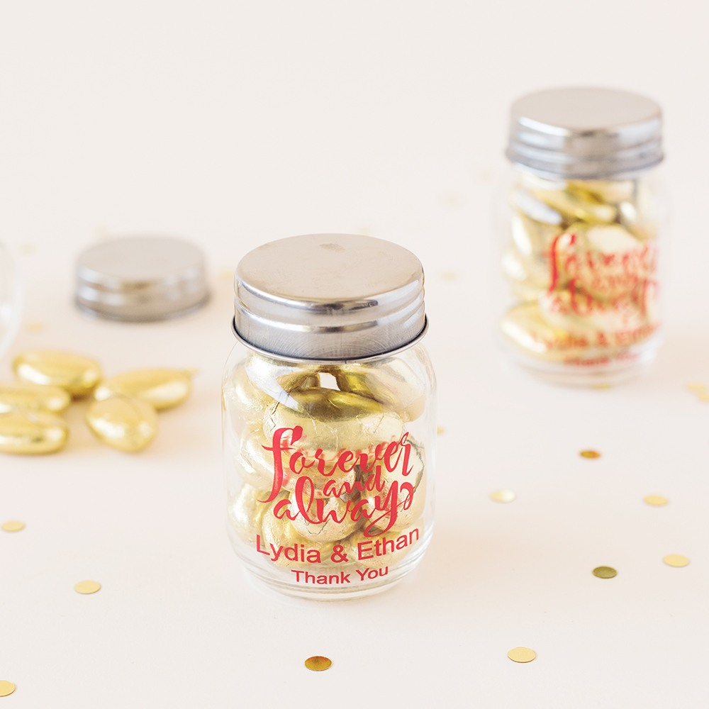 Personalized Forever and Always Mini Mason Jars