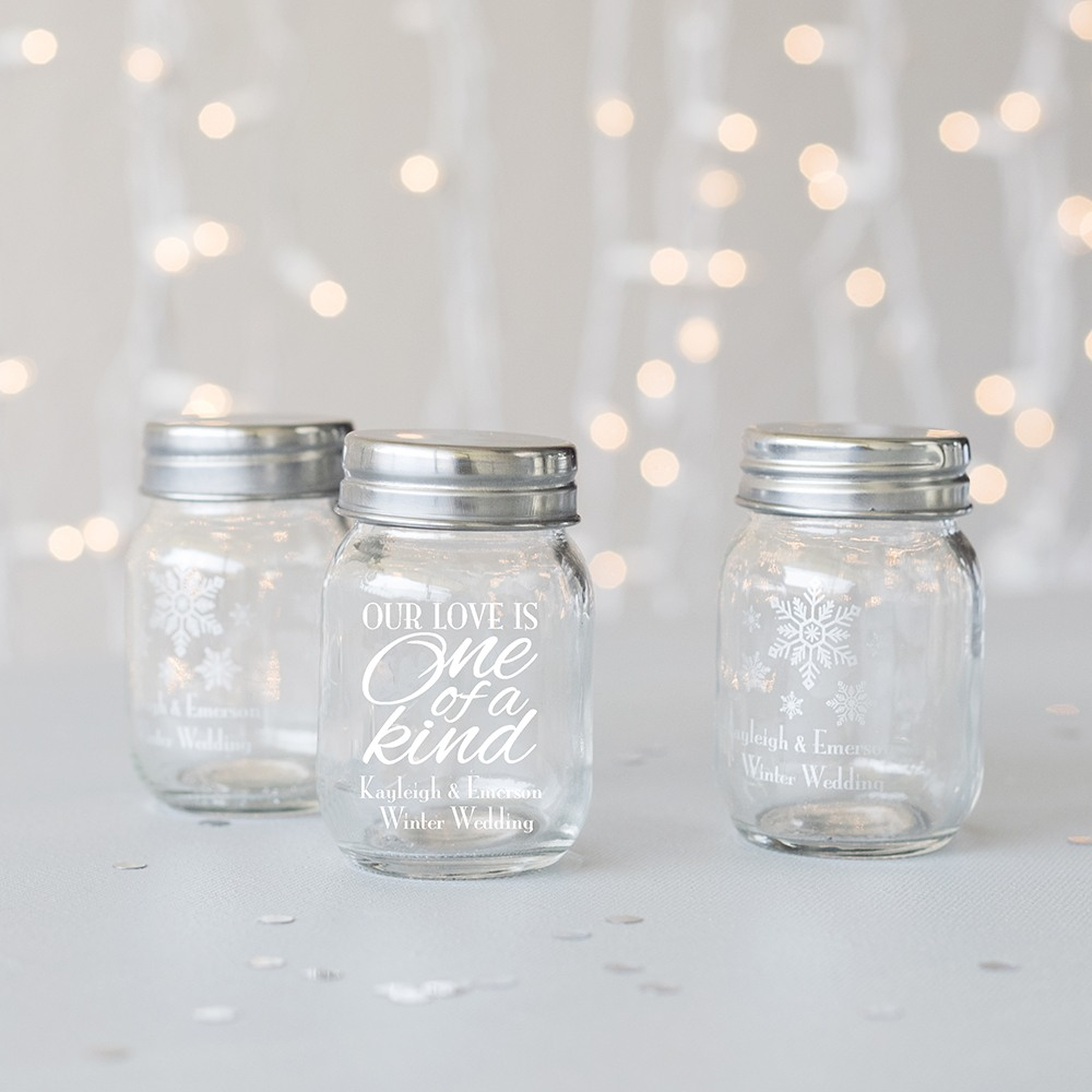 Personalized Winter Theme Mini Mason Jars