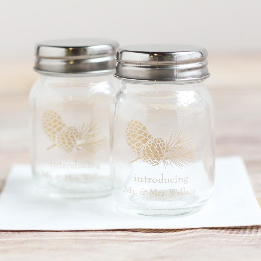 Printed Pinecone Mini Mason Jars