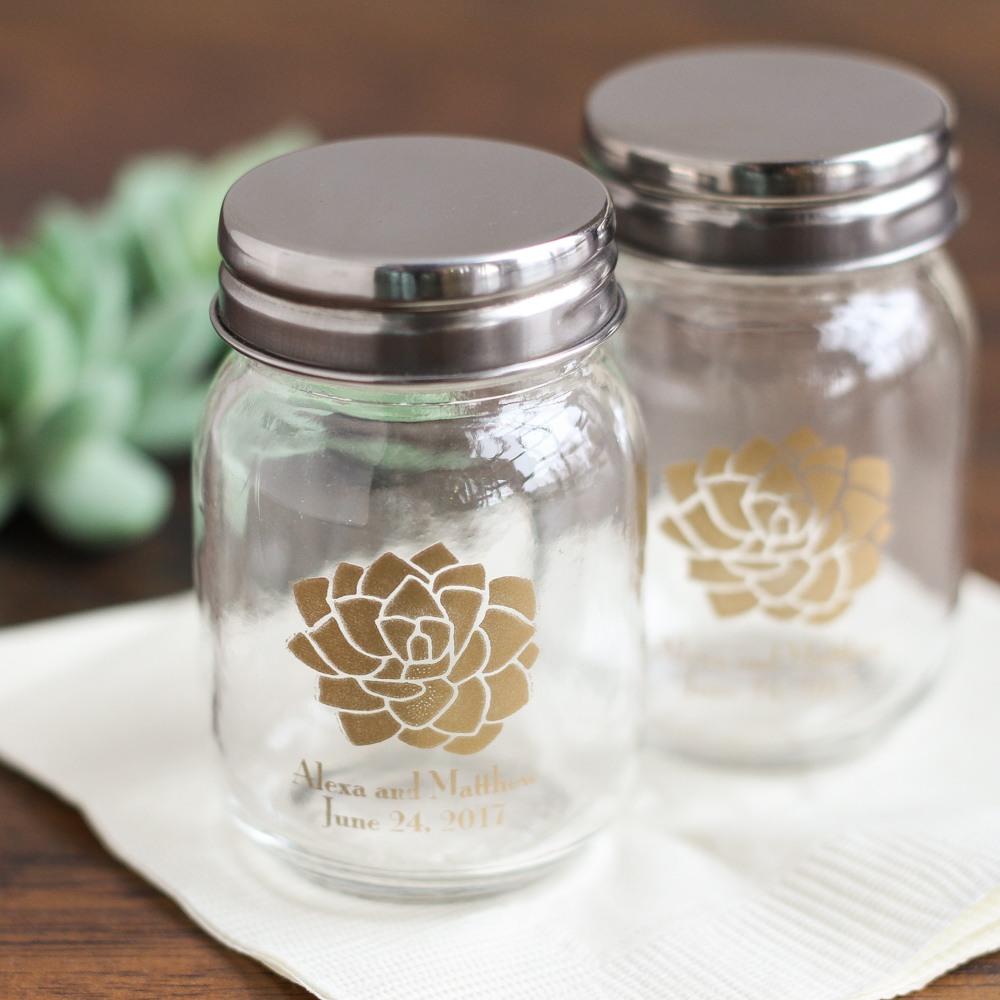 Personalized Succulent Printed Mini Mason Jars