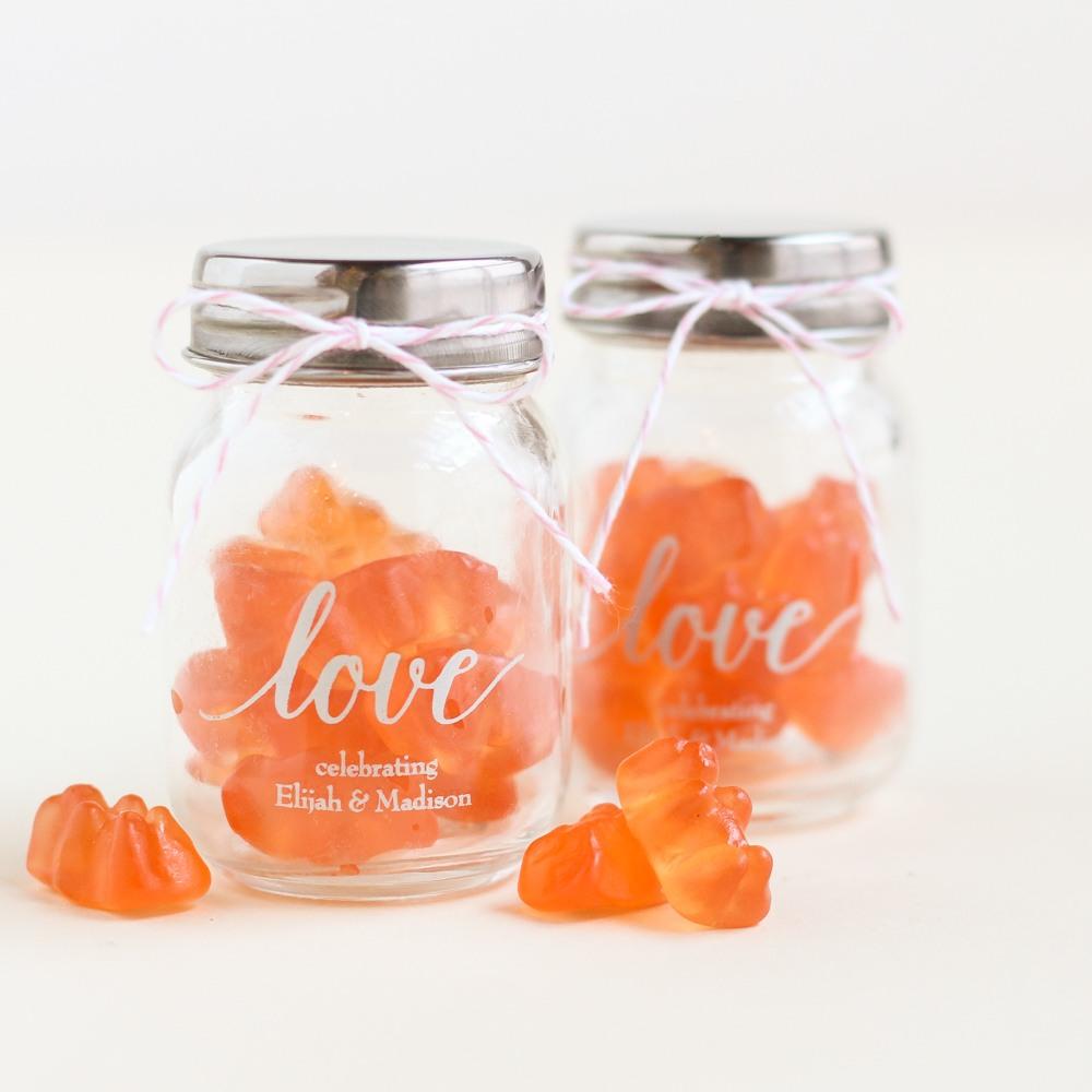Printed Love Mini Mason Jars