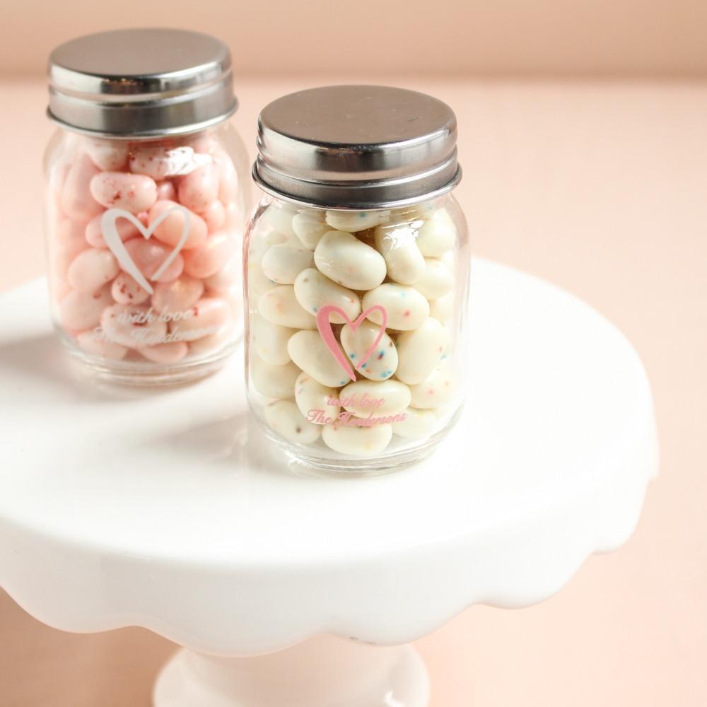 Personalized Heart Printed Mini Mason Jars