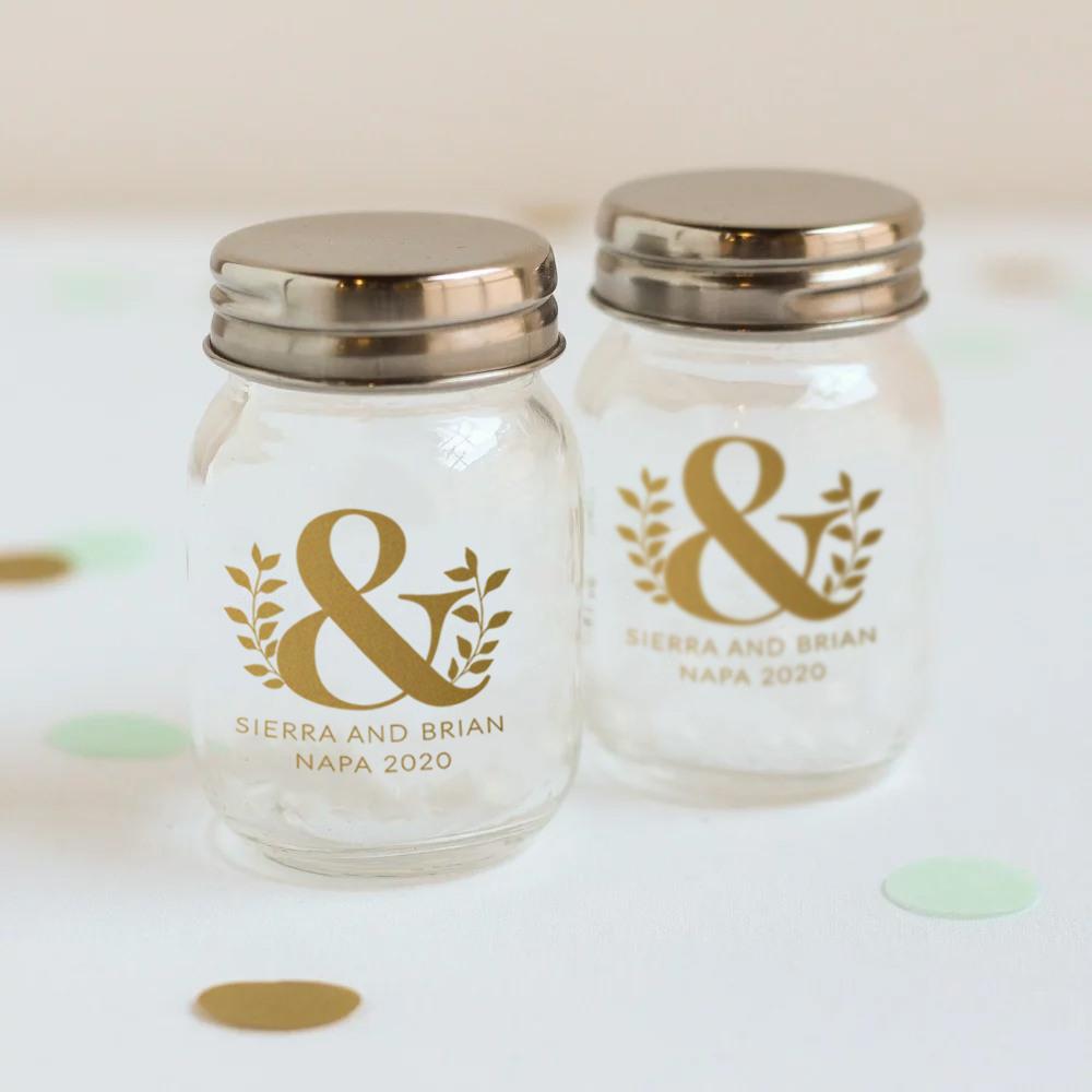 Printed Eco Ampersand Mini Mason Jars