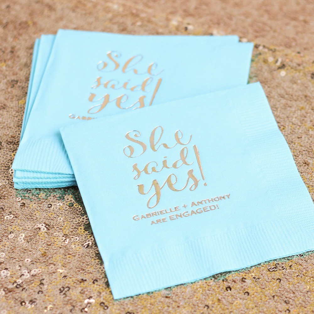 Personalized She Said Yes Napkins