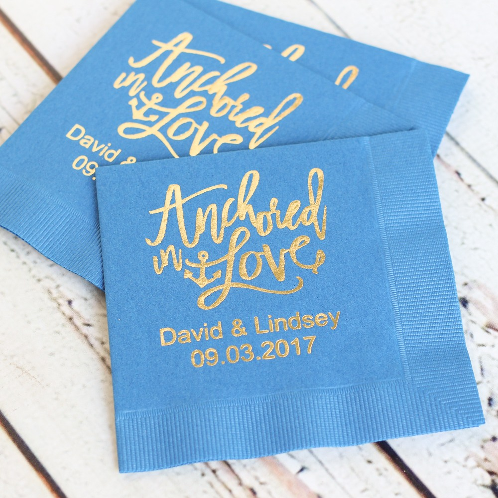 Personalized Anchored In Love Napkins