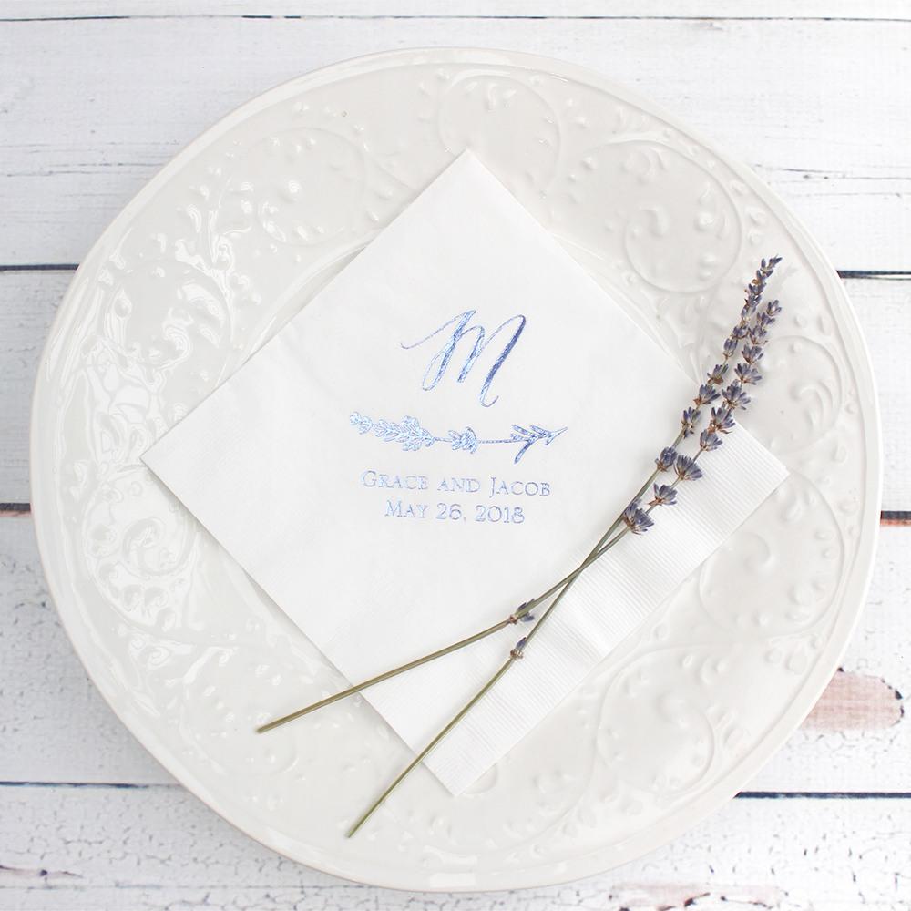 Personalized Exclusive Lavender Bridal Napkins