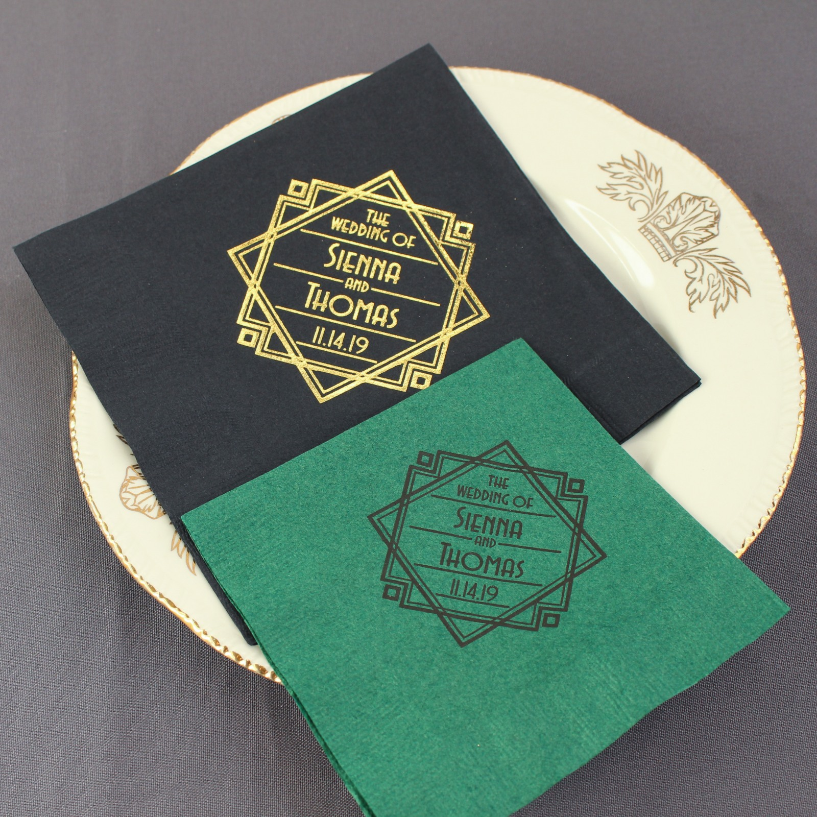 Personalized Exclusive Modern Deco Wedding Napkins