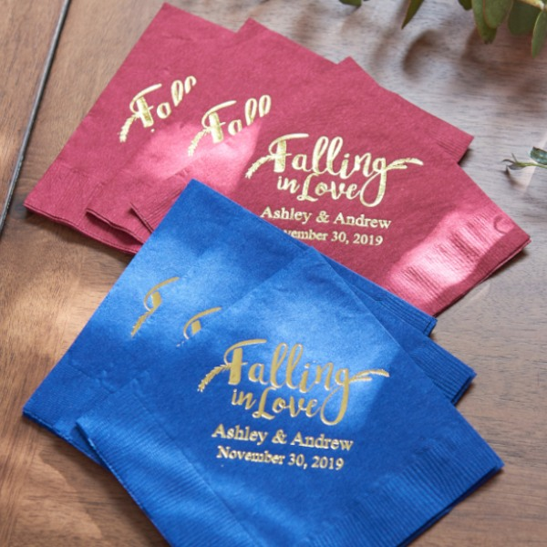 Personalized Exclusive Wedding Napkins - Falling In Love