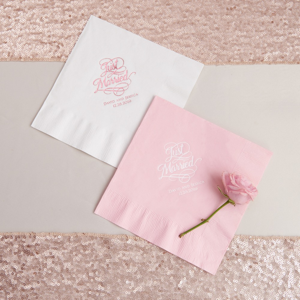 Personalized Just Married Exclusive Wedding Napkins