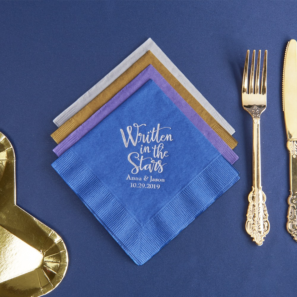 Personalized Written In The Stars Exclusive Wedding Napkins