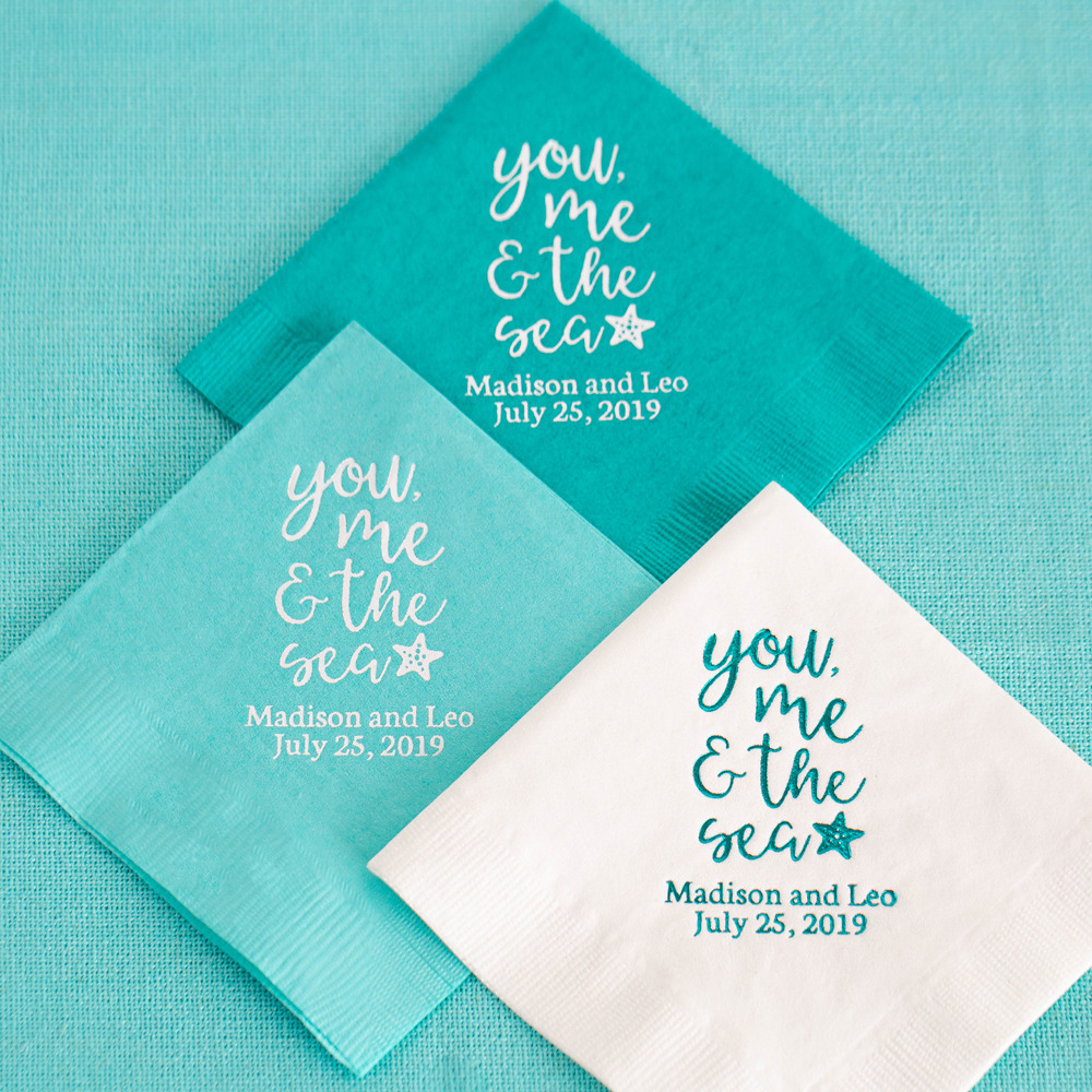Personalized You Me & the Sea Exclusive Wedding Napkins