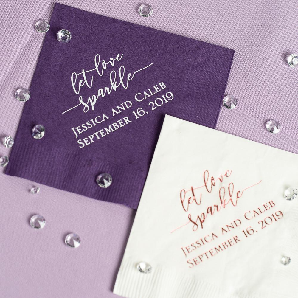 Personalized Let Love Sparkle Exclusive Wedding Napkins