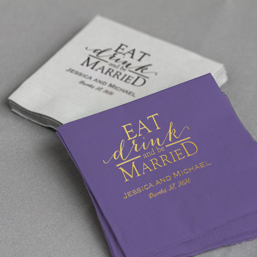 Personalized Eat Drink Be Married Exclusive Wedding Napkins
