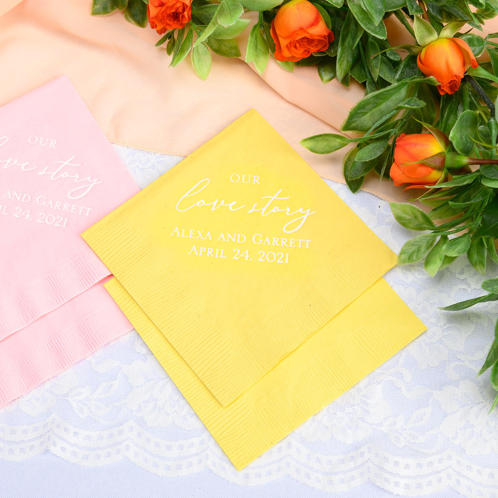 Personalized Our Love Story Exclusive Wedding Napkins
