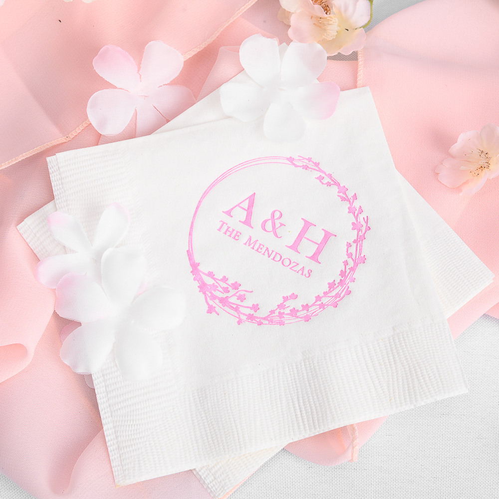 Personalized Cherry Blossom Exclusive Wedding Napkins