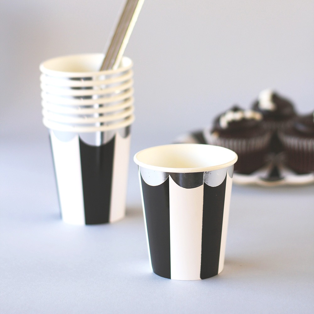 Toot Sweet Scalloped Black Cups