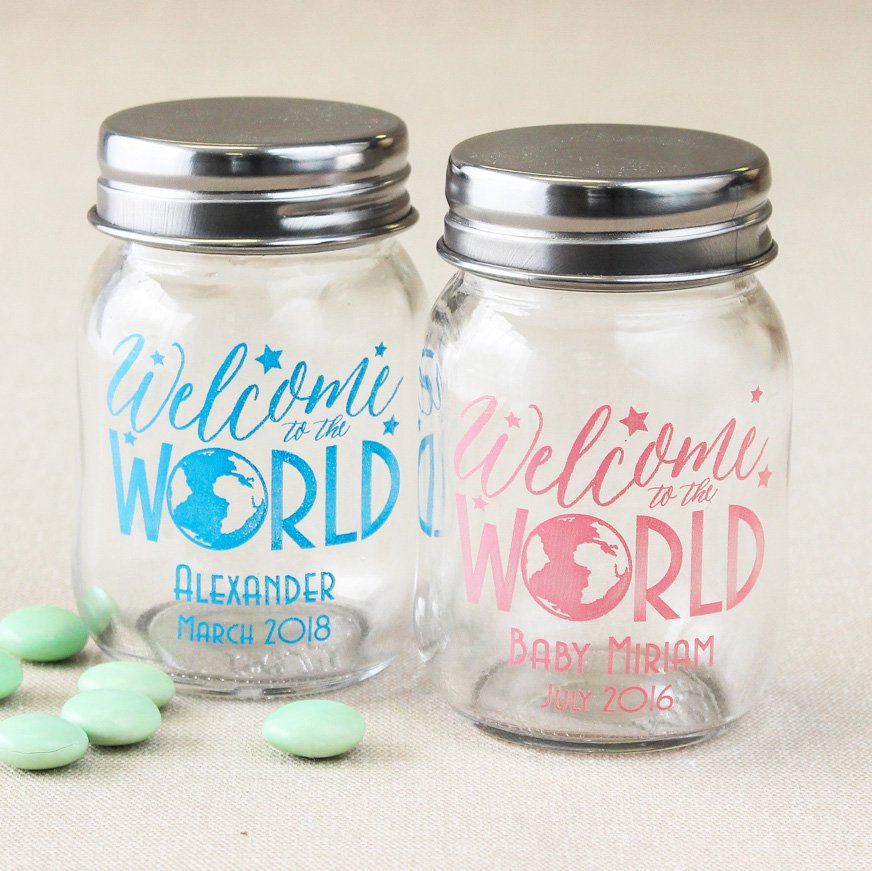 Personalized Welcome to the World Mini Mason Jars
