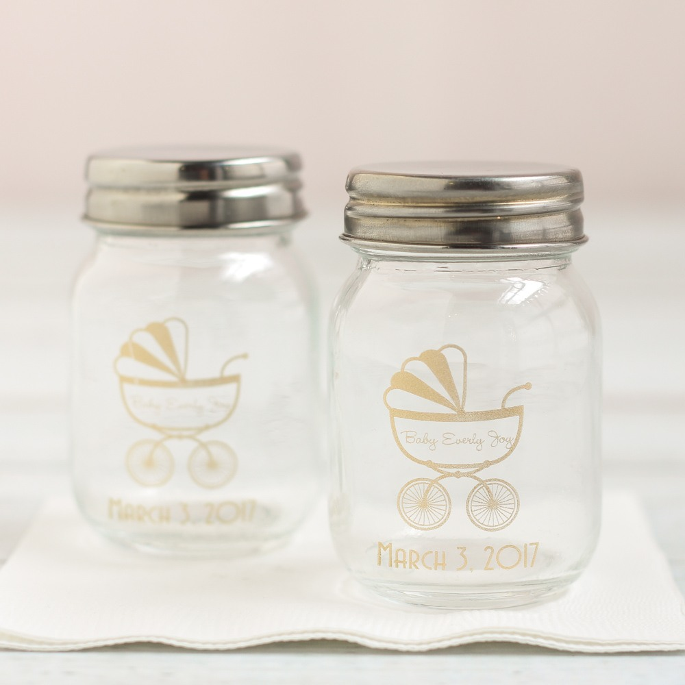Personalized Carriage Printed Mini Mason Jars