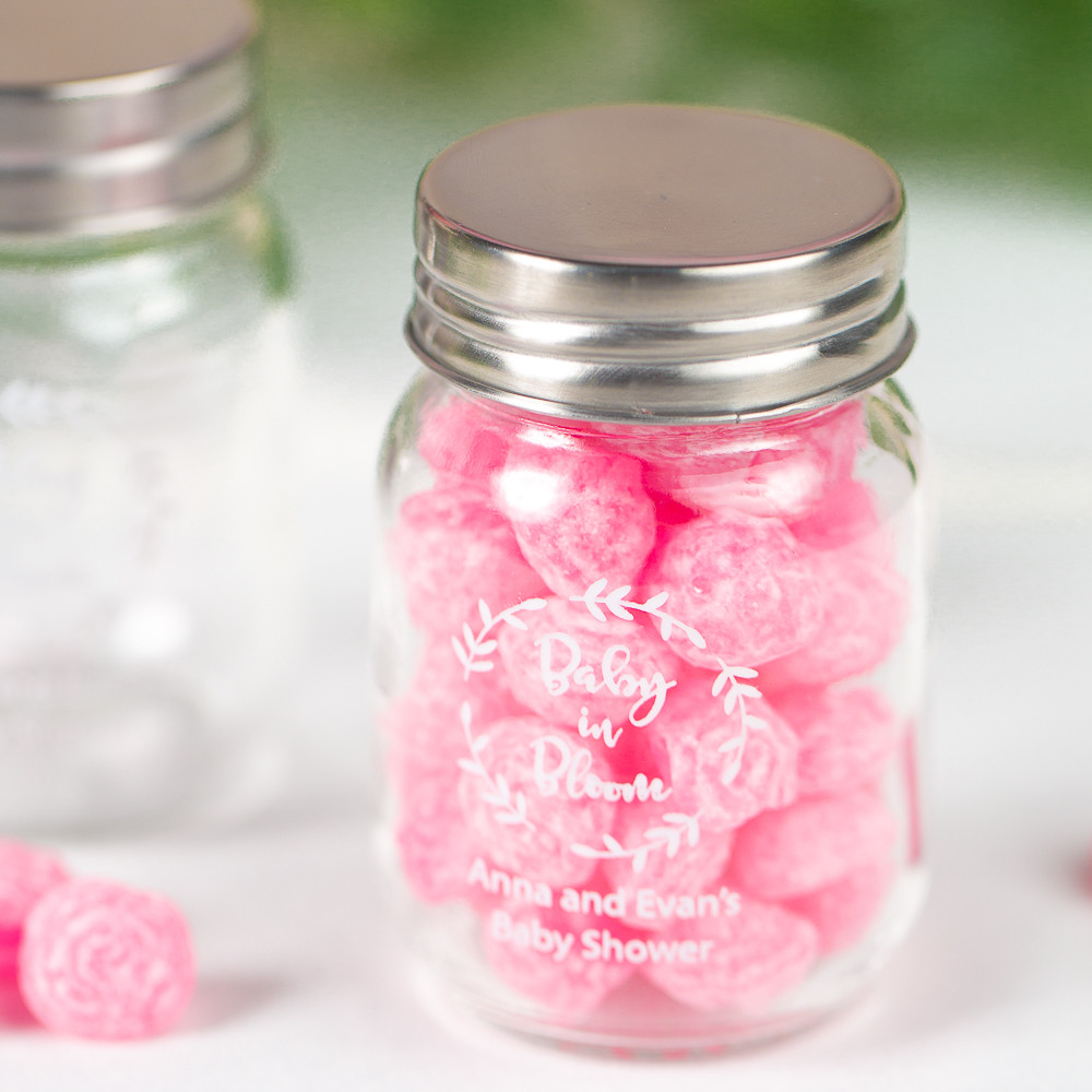 Printed Baby in Bloom Shower Mini Mason Jars
