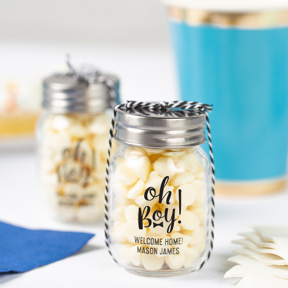 Printed Oh Boy Baby Shower Mini Mason Jars