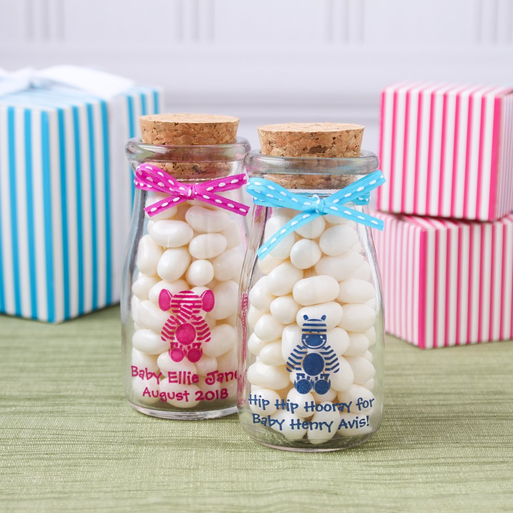Personalized Printed Baby Stripe Vintage Milk Jars