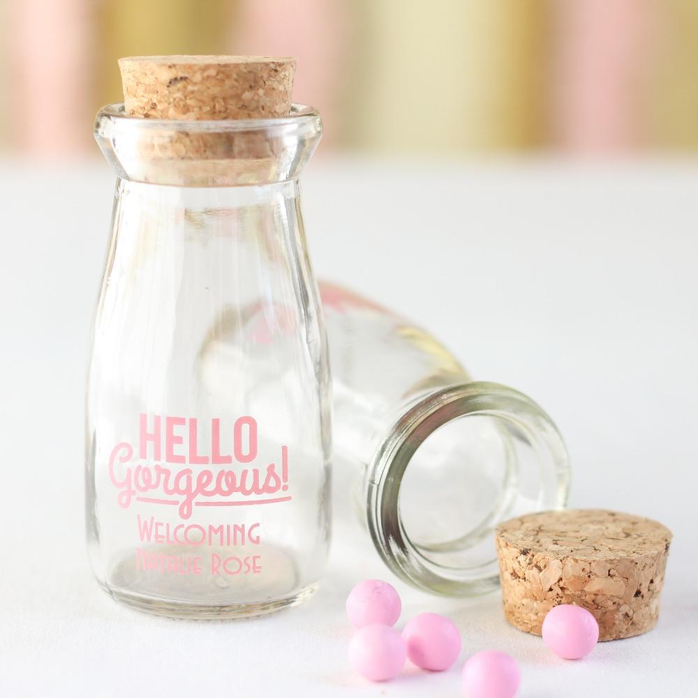 Personalized Printed Baby Shower Vintage Milk Jars