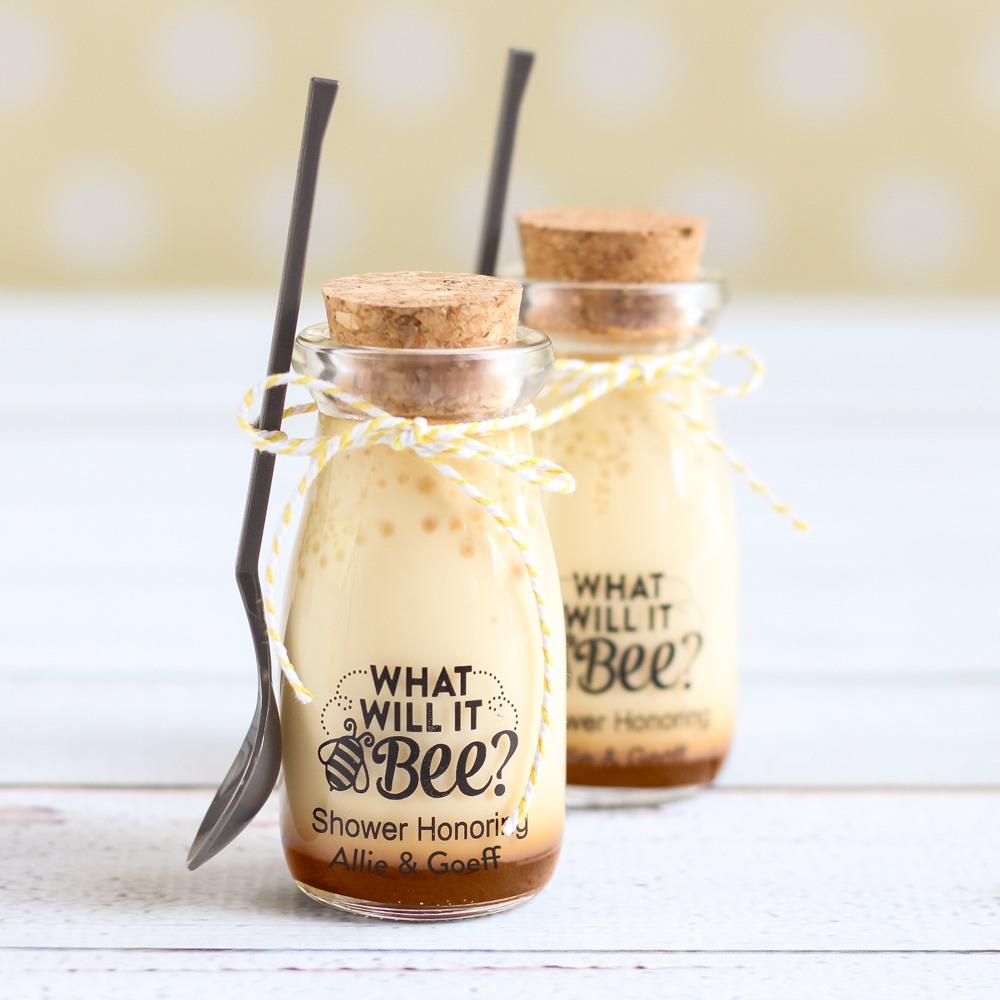 Personalized Bee Reveal Vintage Milk Jar
