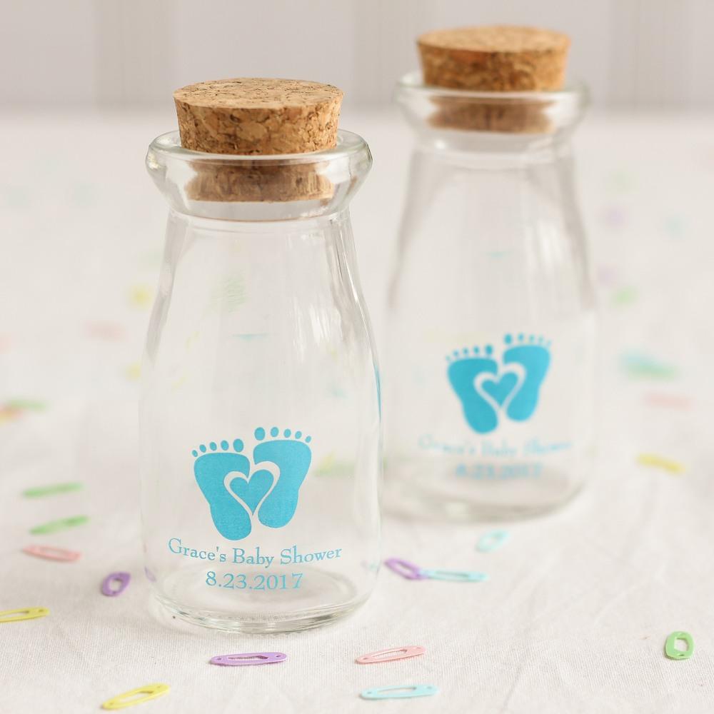 Personalized Baby Feet Vintage Milk Jars