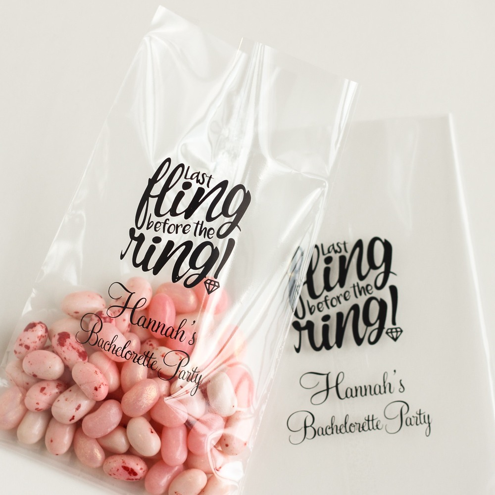 Personalized Last Fling Wedding Cellophane Bags