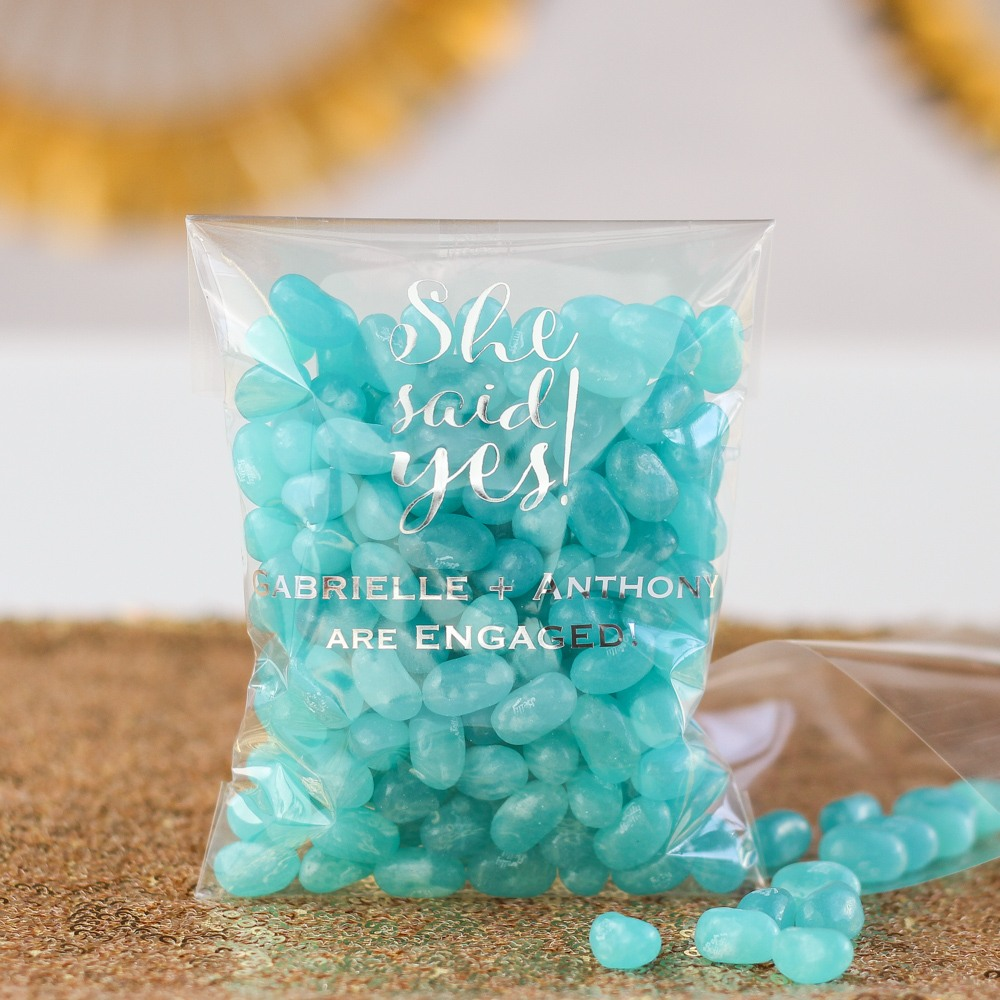 Personalized She Said Yes Wedding Cellophane Bags