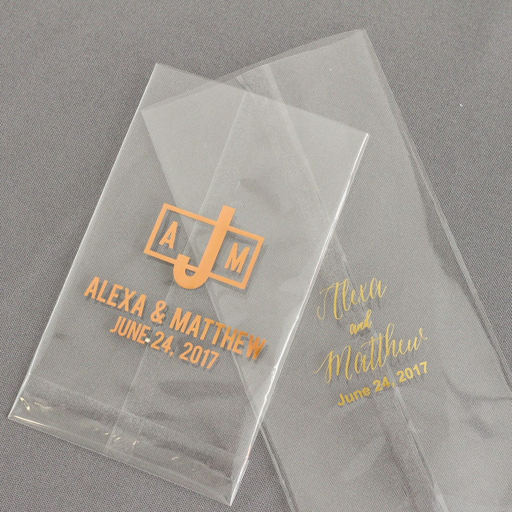 Personalized Modern Luxe Wedding Cellophane Bags