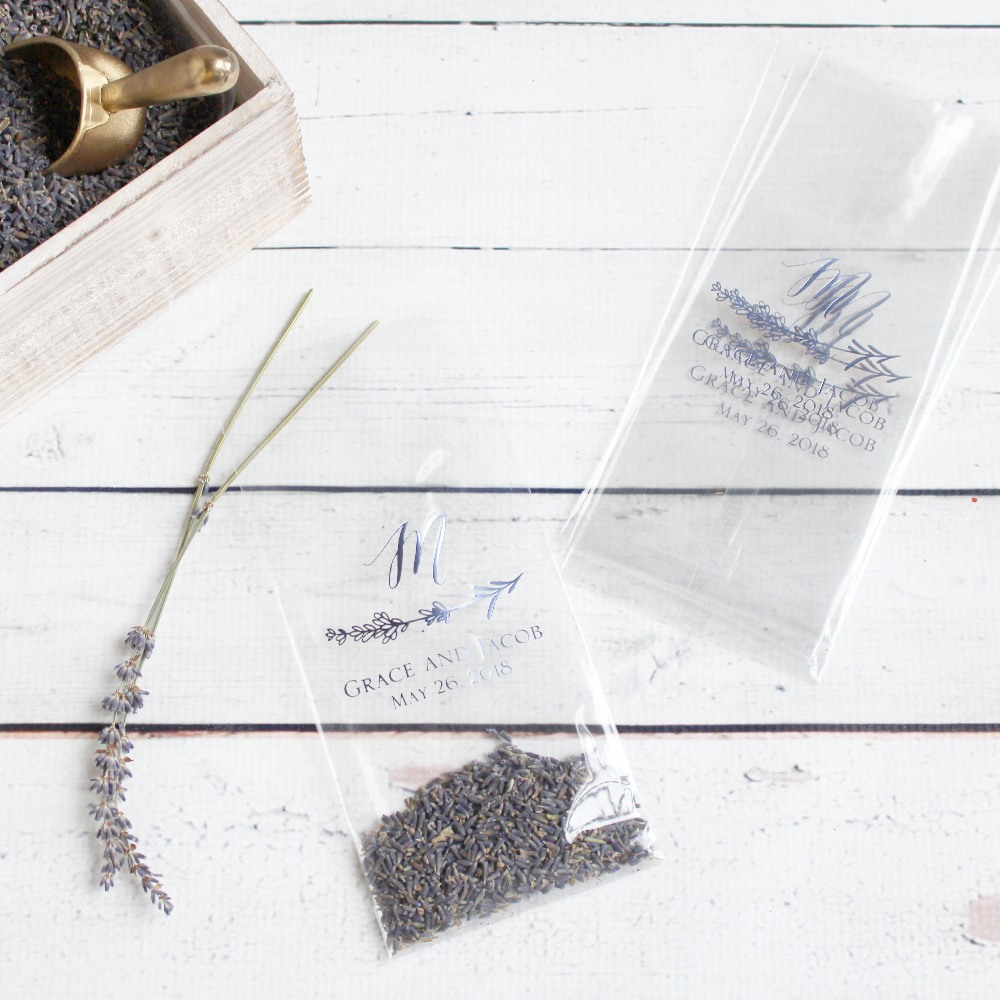 Personalized Lavender Sprig Wedding Cellophane Bags