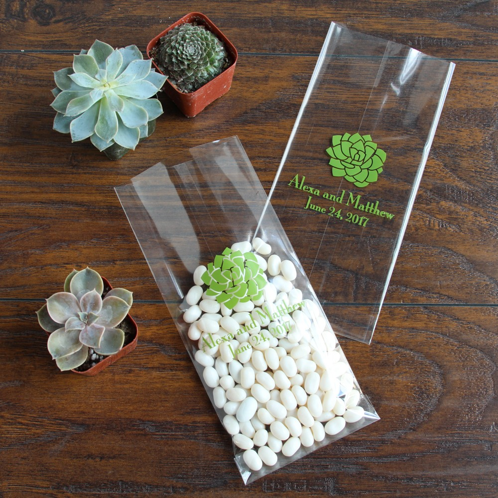Personalized Succulent Wedding Cellophane Bags